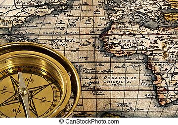 aventura, naturaleza muerta, con, retro, marina, compás, y, mapa