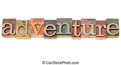 aventura, palavra, em, letterpress, tipo
