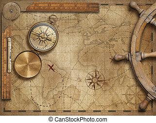 aventura, y, explorar, concepto, naturaleza muerta, con, viejo, náutico, mapa del mundo