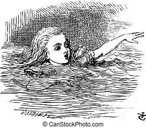 aventuras, gigante, 1865., ella, alice, alice's, publicado, arriba, ilustración, lágrimas, wonderland., barbilla, water., juan, sal, tenniel, piscina, natación