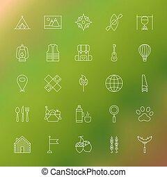 aventure, camping, ligne, icônes