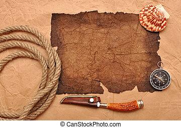 aventure, décoration, à, compas, sur, vieux, papier