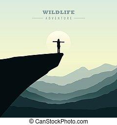 aventure, montagne, levers de soleil, randonnée, girl, falaise, vue