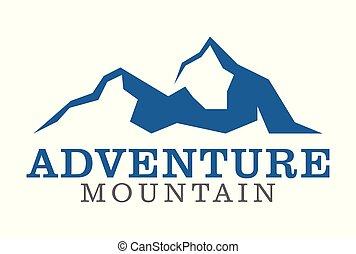 aventure, montagne, logo, vecteur