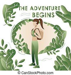 aventure, travel., vacation., tourisme, sur, nature., consept