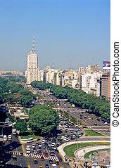 Avenue 9 de Julio in Buenos Aires - Main avenue 9 de Julio...