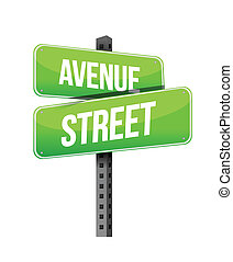 avenue and street road sign illustration design over a white...