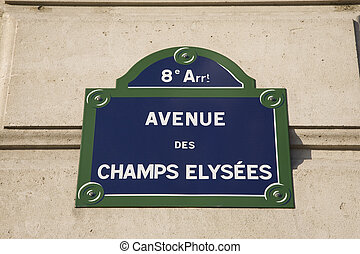 Avenue Champs Elysees Street Sign in France, Europe
