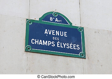 Avenue Champs Elysees Street Sign in Paris, France