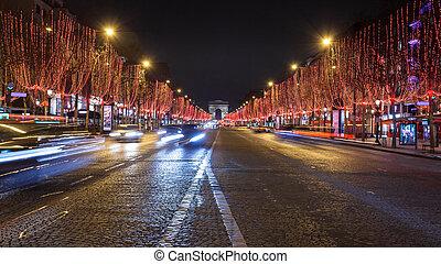 Avenue des Champs Elysees and Arc de Triomphe at night, Paris