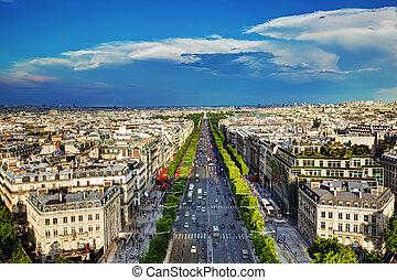 Avenue des Champs-Elysees in Paris, France - View on Avenue...