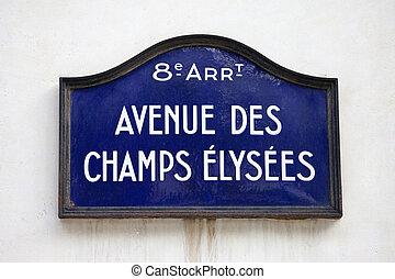 Street sign for Avenue des Champs-Elysees in Paris.