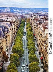 Avenue from above view of Arc de Triumph in Paris