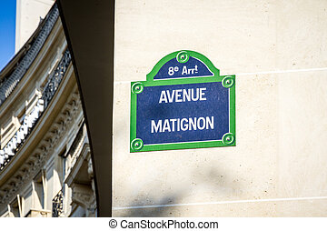 Avenue Matignon street sign, Paris, France