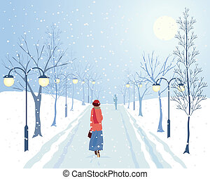 avenue of trees - an illustration of a woman walking through...