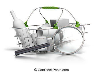 average basket with a magnifying glass in front of it, concept of consumption analyst