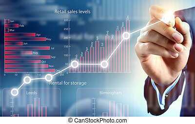 Close view of businessman drawing on screen market infographs