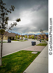 Average Suburb Street - Stormy Skies Over An Emptied Average...
