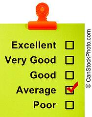 Average Survey Result Checked On Clipboard - Average Survey...