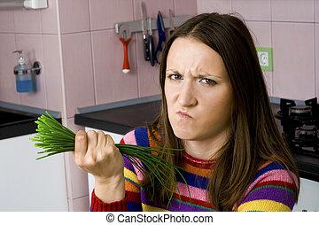 aversion, femme, légumes