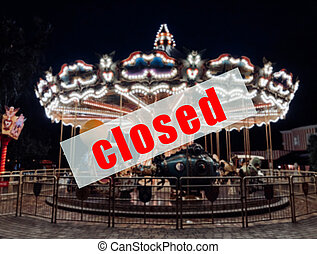 avertissement, amusement, closed., signe, parcs