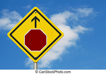 avertissement, arrêter, signe