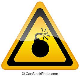 avertissement, bombe, signe