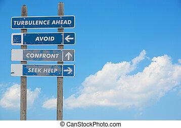 avertissement, challen, pilote, poteau indicateur, ligne aérienne, décision, concept