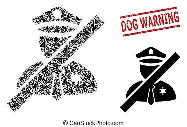 avertissement, chien, homme, cachet, police, collage, timbre, icônes, grunge, frorbidden