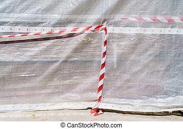 avertissement, construction, bande, site, danger