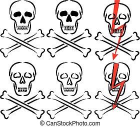 avertissement, -, crâne, signe