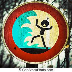 avertissement, crier, personne, tsunami, signe, flashflood