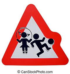 avertissement, enfants jouer