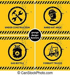 avertissement, ensemble, grunge, bannières, jaune