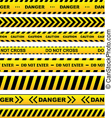avertissement, ensemble, jaune, bandes