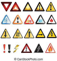 avertissement, ensemble, signe danger
