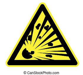 avertissement, explosion, risque, jaune