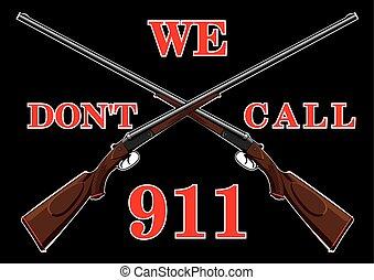 avertissement, fusils, signe