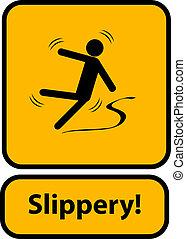 avertissement, glissant, signe jaune