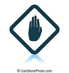 avertissement, icône, main