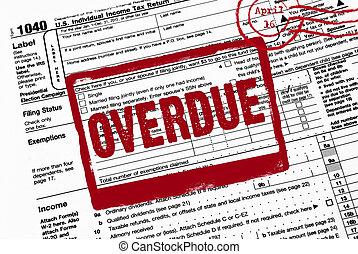 avertissement, impôt, rouges, formulaire