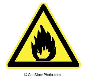 avertissement, inflammable, jaune, matériels