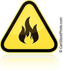 avertissement, inflammable, triangulaire, signe jaune