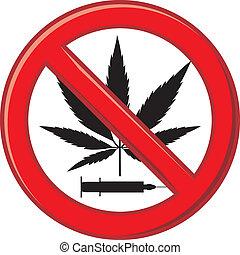 avertissement, interdire, drogue