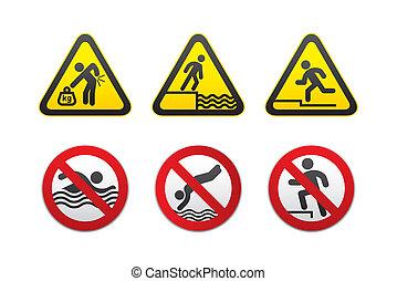 avertissement, interdit, signes