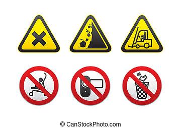 &, avertissement, interdit, signes