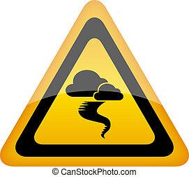avertissement, ouragan, signe