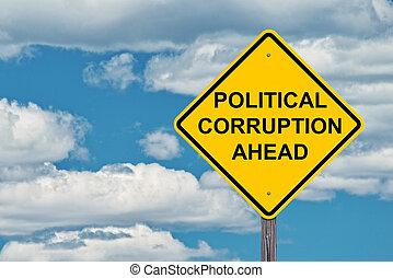 avertissement, politique, corruption, devant, signe