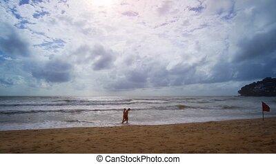 avertissement, promenade, passé, touristes, phuket, drapeau, plage tropicale