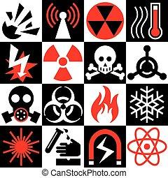 avertissement, red-black-white, danger, icônes